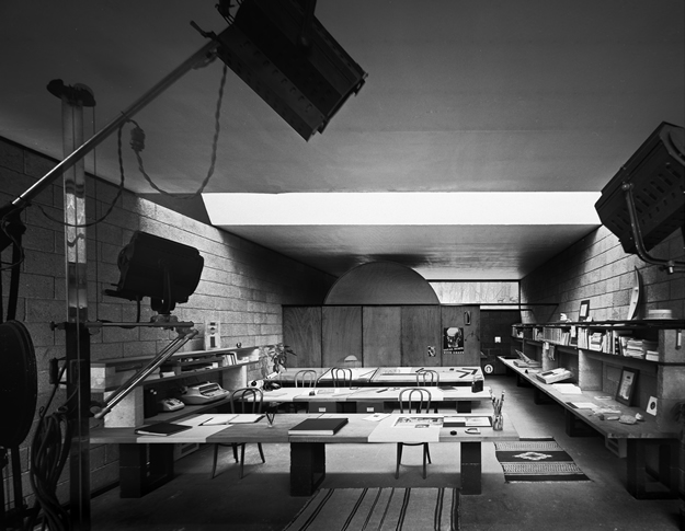 Interior, Robert Damora's studio, at Philip Johnson's first house. Robert Damora, Architect, 1965. Robert Damora, Photographer, 1976
